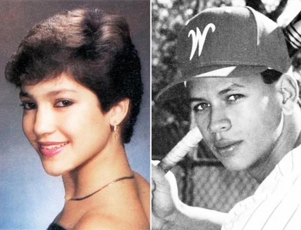 Jennifer Lopez e Alex Rodriguez na adolescência (Foto: Reprodução)