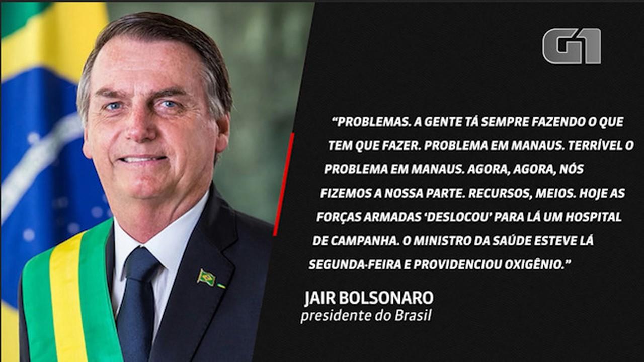 VÍDEO: 'Terrível, o problema em Manaus. Agora, nós fizemos nossa parte', diz Bolsonaro