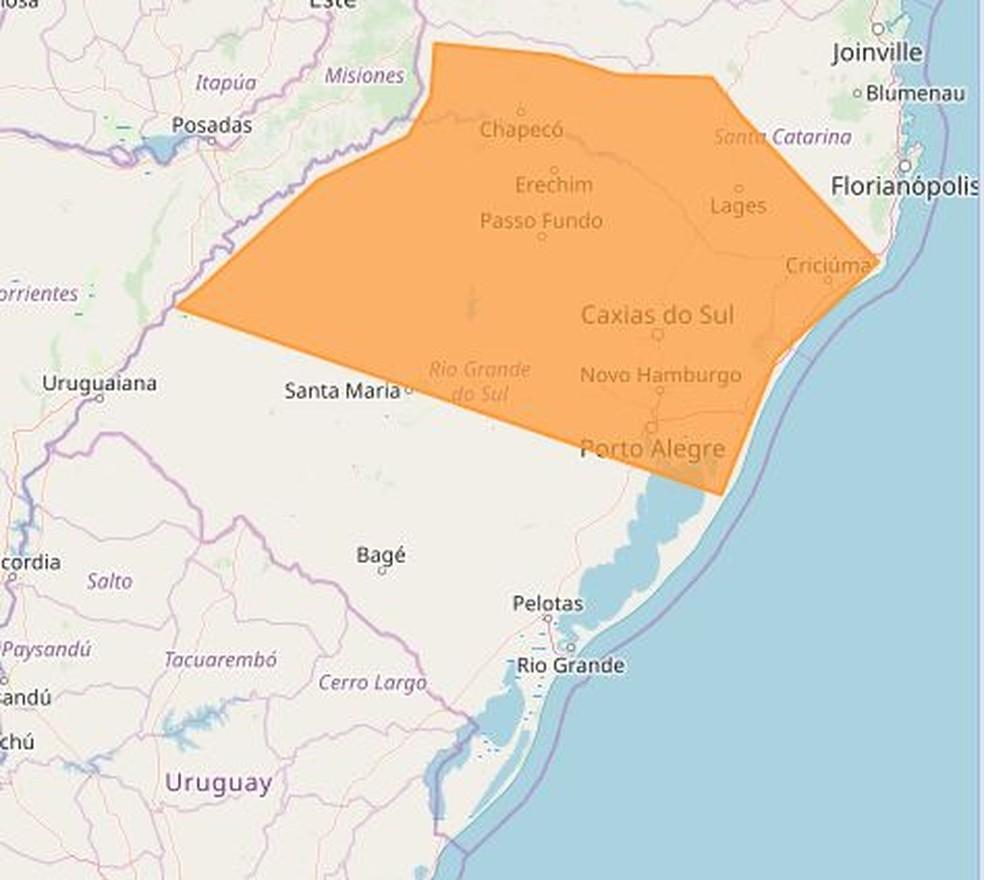 Alerta de perigo do Inmet para terça-feira mostra risco de temporais no Norte e Nordeste do RS, e parte de Santa Catarina — Foto: Reprodução/Inmet