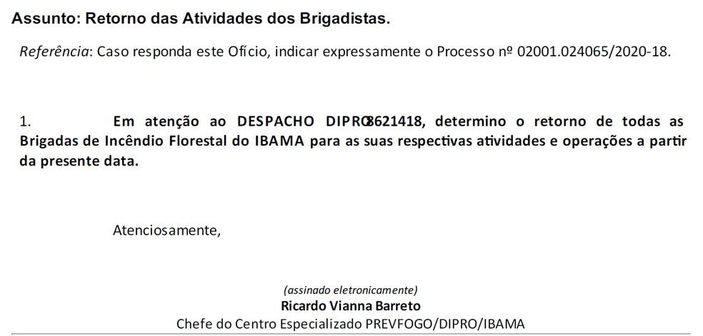 Trecho de circular que determina a retomada de atividades do Ibama — Foto: Reprodução