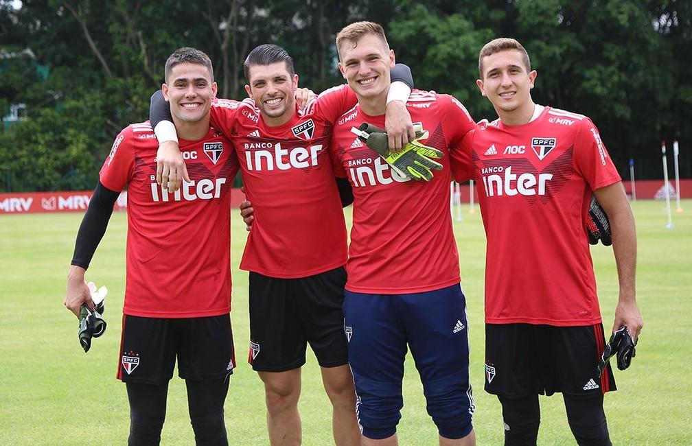 Júnior, Tiago Volpi, Lucas Perri e Thiago Couto: os quatro goleiros do São Paulo para 2020 — Foto:  Rubens Chiri / saopaulofc.net