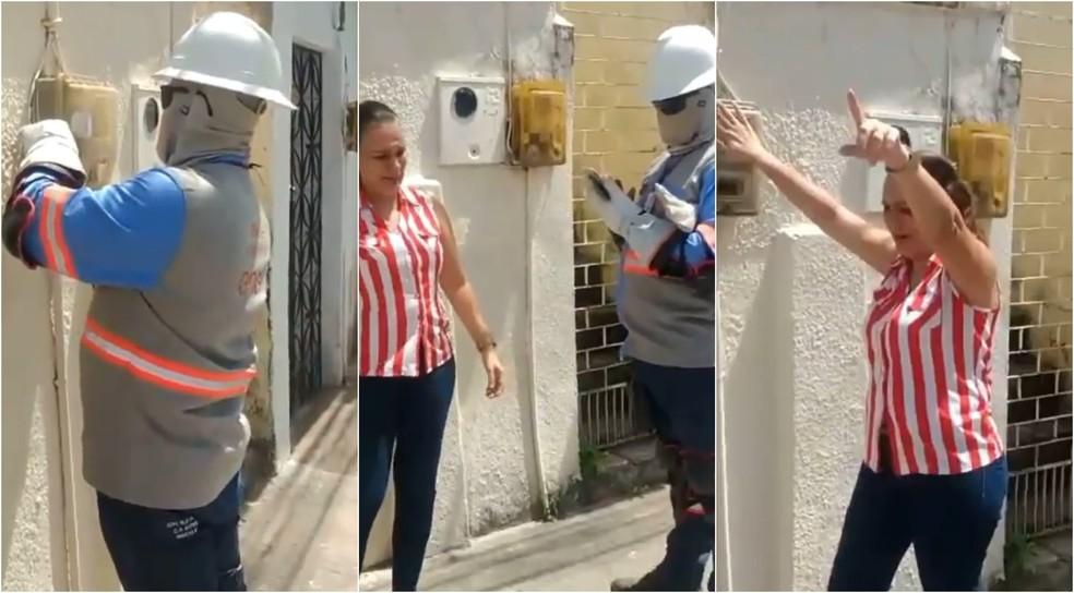 Mulher impede corte de energia em Fortaleza após alegar que tem familiar intubado por Covid — Foto: Reprodução