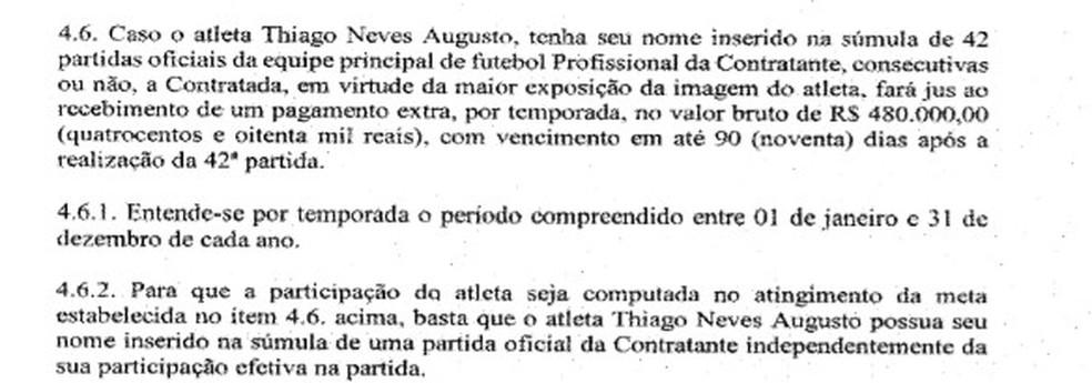 Cláusula que determina pagamento de bonificação a Thiago Neves — Foto: Reprodução