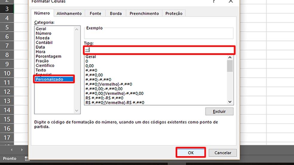 """Selecione """"Personalizado"""" e digite """";;;"""" no campo de texto (Foto: Reprodução/Daniel Ribeiro)"""