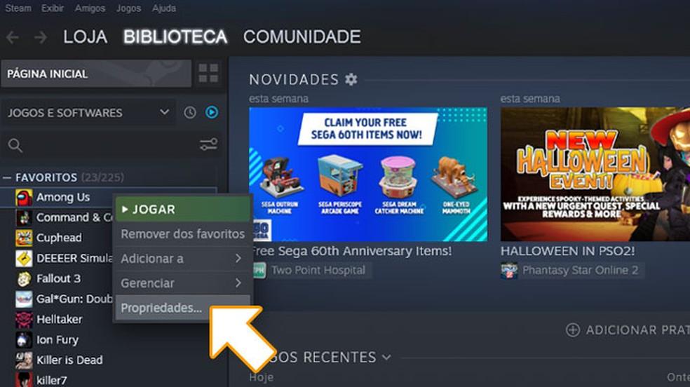 """Clique com o botão direito em Among Us na sua lista de jogos e selecione """"Properties"""" — Foto: Reprodução/Rafael Monteiro"""