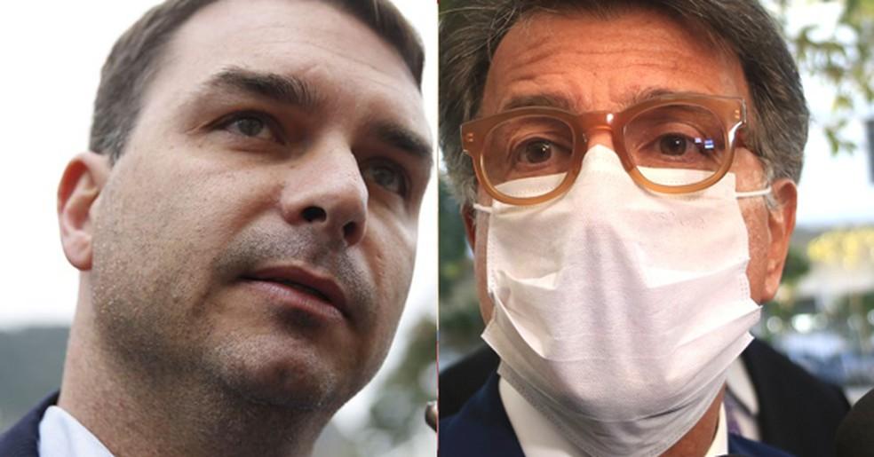 Os ex-aliados Flávio Bolsonaro e Paulo Marinho, que ficarão frente a frente — Foto: Tânia Rêgo/Agência Brasil; Ellan Lustosa/Código19/Estadão Conteúdo