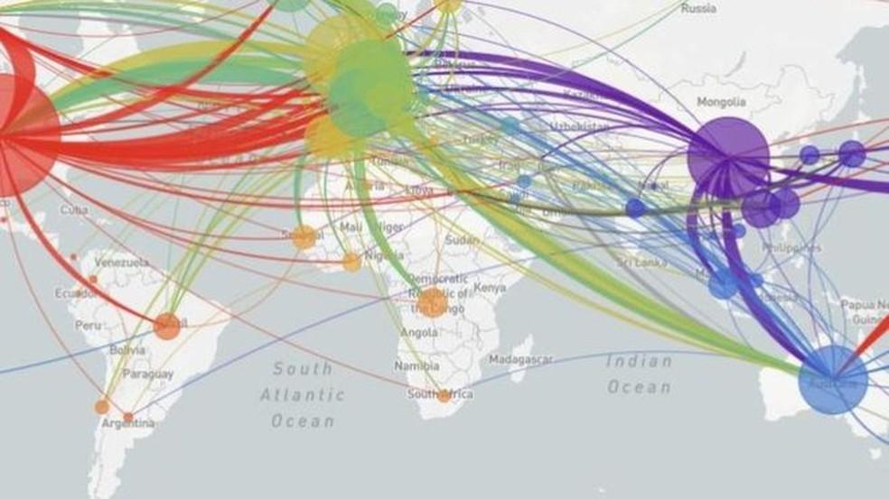 Site NextStrain apresenta mapeamento das variações genéticas do vírus e as conexões entre os casos ao redor do mundo — Foto: Reprodução/NextStrain