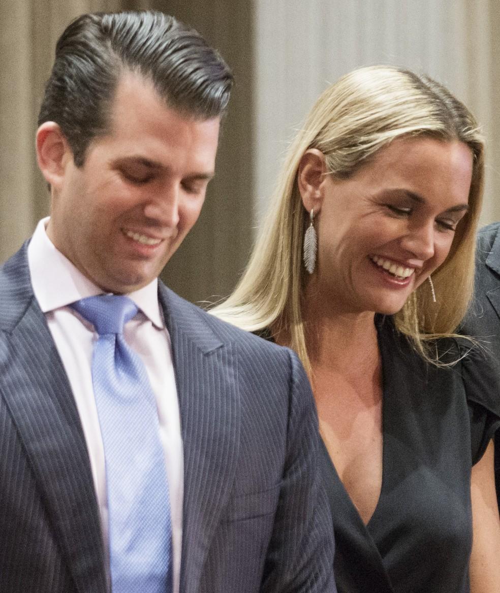 Donald Trump Jr. e sua mulher Vanessa em imagem de arquivo (Foto: Stephanie Lamy / AFP)
