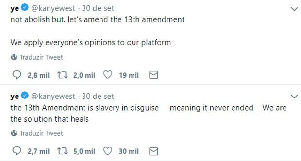 Kanye West se corrige após falar em abolir 13a emenda (Foto: Reprodução/Twitter)