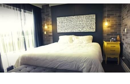 O quarto de casal de Projota e da mulher, Tamy Contro. Reprodução/ SBT Reprodução/Instagram