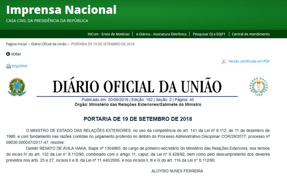 Diário Oficial da União publicou demissão de diplomata brasileiro — Foto: Imprensa Nacional/Reprodução