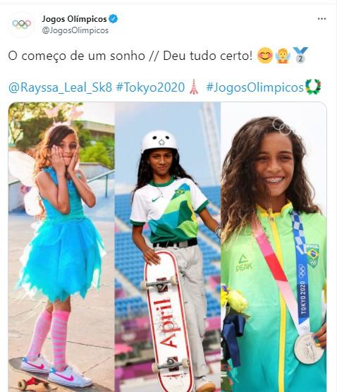 Reação nas redes com a medalha de prata de Rayssa Andrade  (Foto: Reprodução)