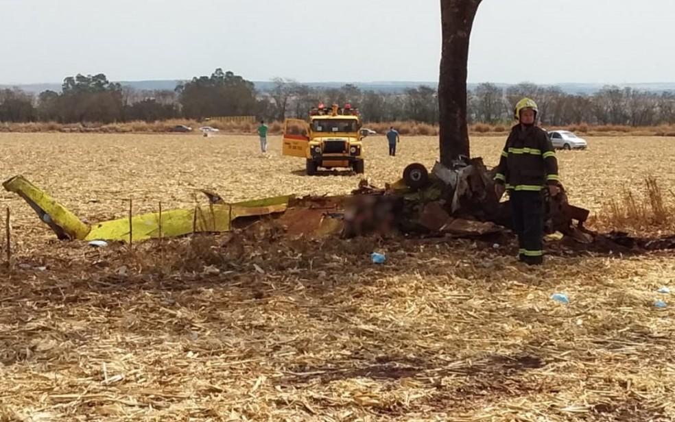 Avião de pequeno porte caiu em uma fazenda de Rio Verde, logo após decolagem — Foto: Reprodução/TV Anhanguera