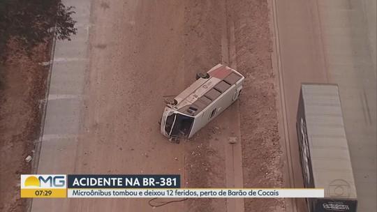 Tombamento de micro-ônibus deixa feridos na BR-381, próximo a Barão de Cocais