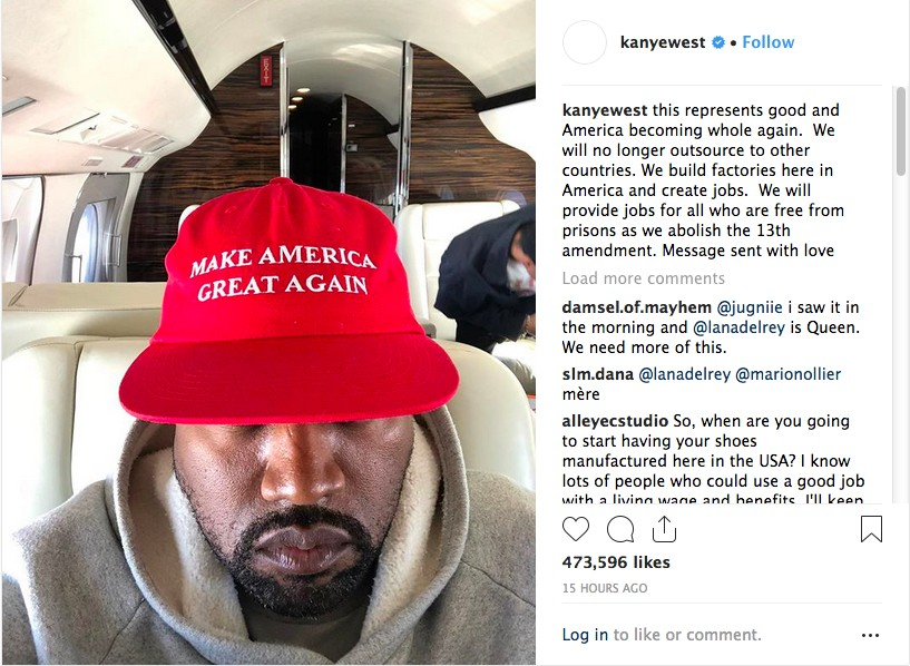 O post de Kanye West prestando solidariedade e defendendo o governo de Donald Trump (Foto: Instagram)