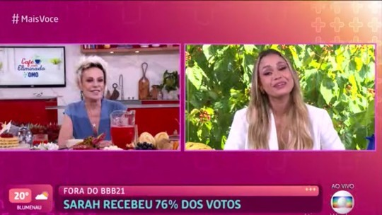 Ana Maria Braga entrevista a eliminada Sarah no 'Mais você' (Foto: Reprodução)