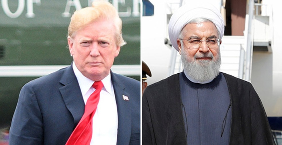 Montagem com as fotos do presidente dos EUA, Donald Trump, e o do Irã, Hassan Rohani (Foto: Mary F. Calvert/Peter Klaunzer/Reuters)