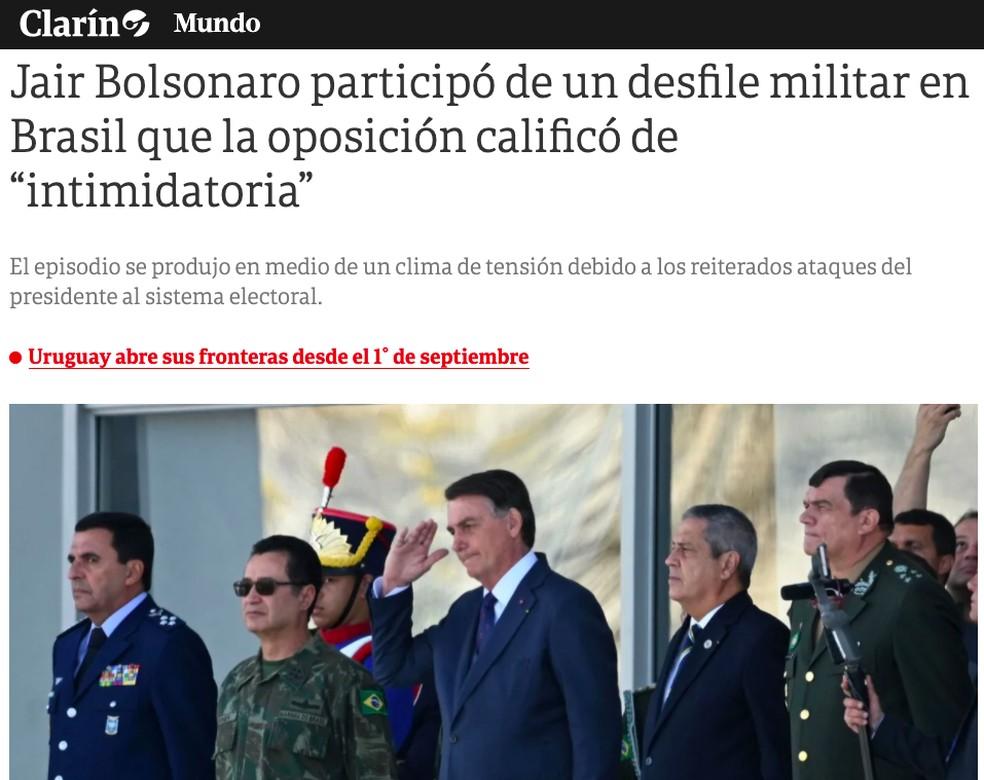 Clarín (Argentina) sobre ato militar na Praça dos Três Poderes — Foto: Reprodução