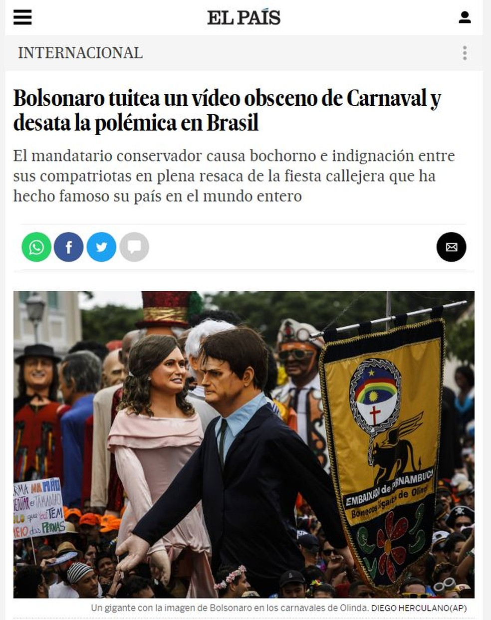 Jornal El País noticia comentários de Bolsonaro no Twitter — Foto: Reprodução/El País