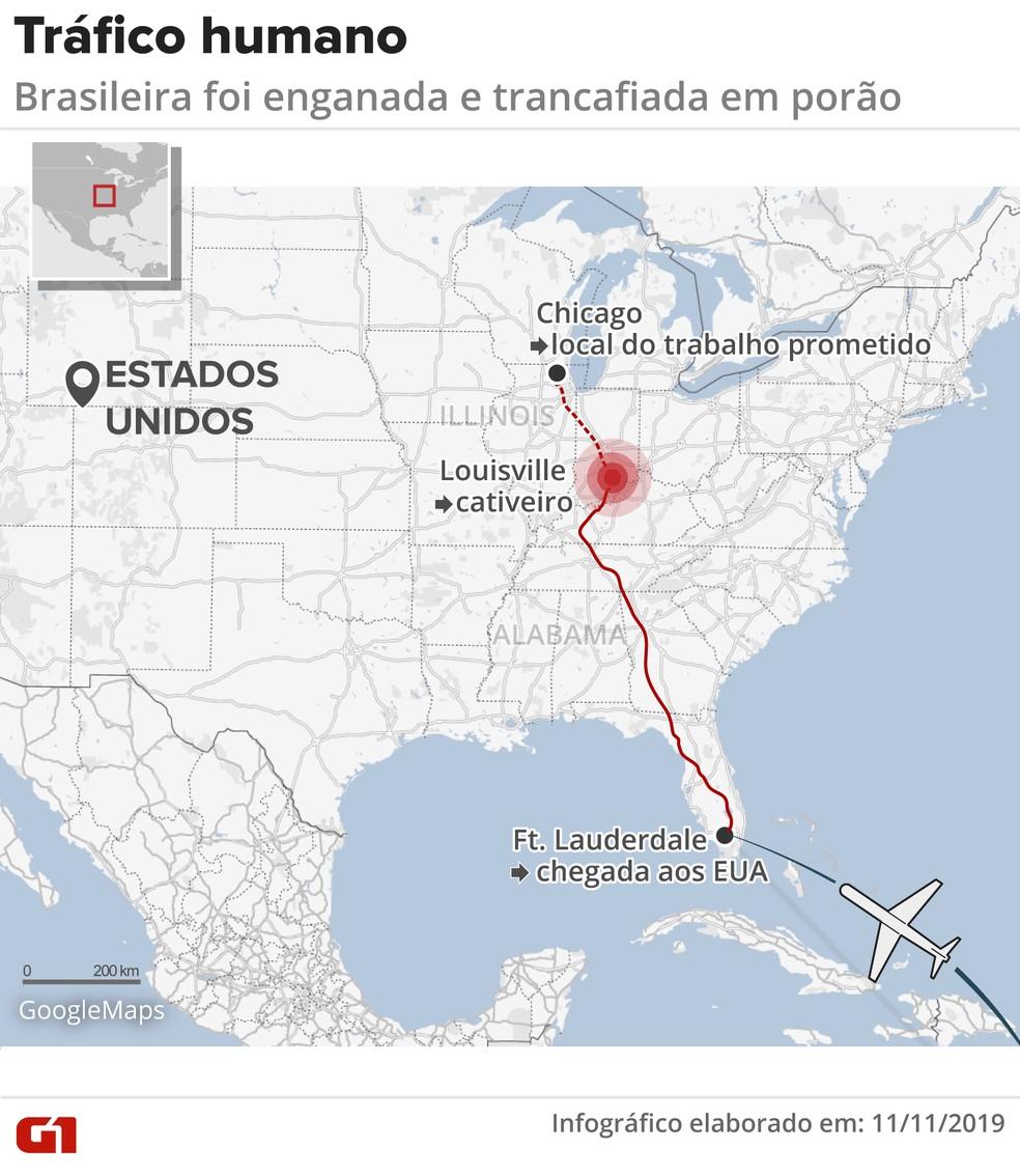 Mapa mostra caminho de brasileira vítima de tráfico de pessoas — Foto: G1/Wagner Magalhães