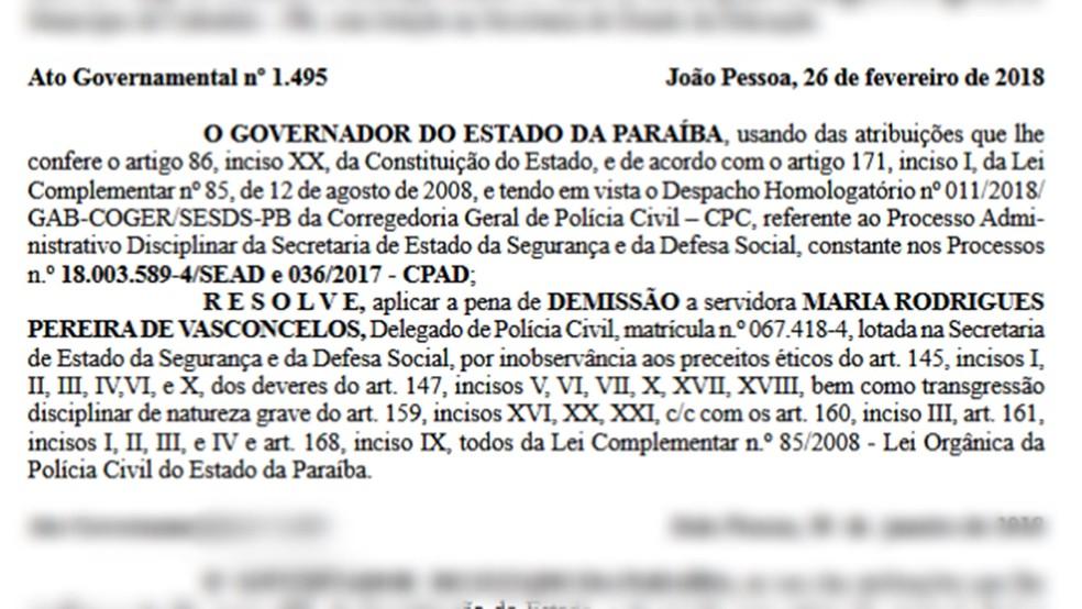 Delegada foi demitida pelo governador após ato publicado no Diário Oficial da Paraíba (Foto: Diário Oficial da Paraíba/Reprodução)