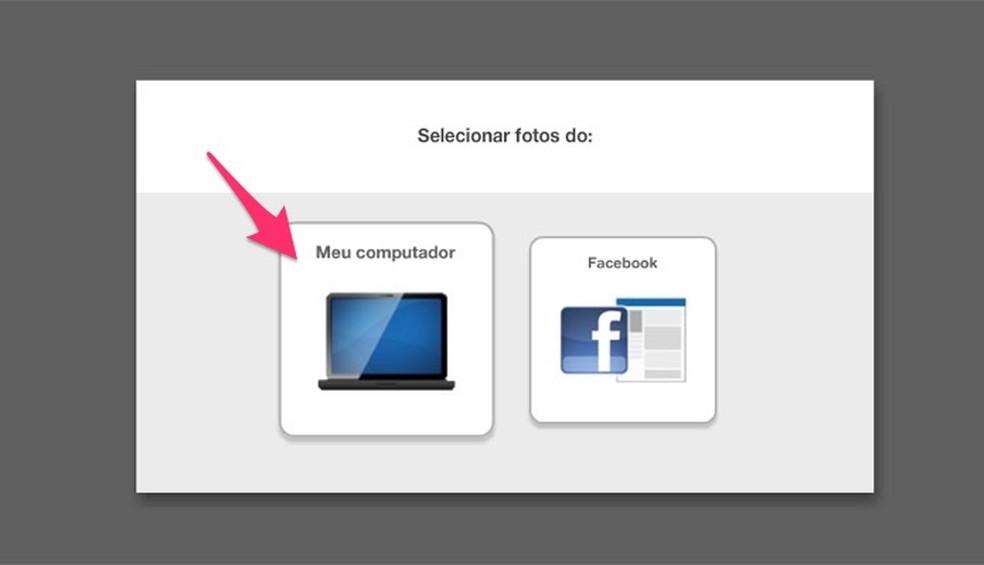 Ação para abrir o explorador de arquivos para criar vídeos para o Instagram Stories usando o serviço online Kizoa — Foto: Reprodução/Marvin Costa