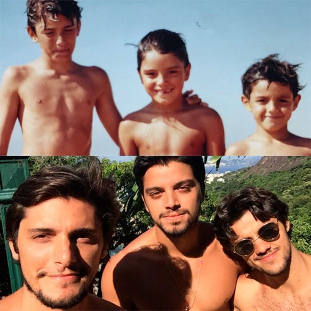Bruno Gissoni, Rodrigo Simas e Felipe Simas ontem e hoje (Foto: Reprodução/Instagram)