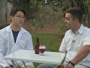 Doutorando da Unesp desenvolveu a bebida  (Foto: Reprodução / TV TEM)
