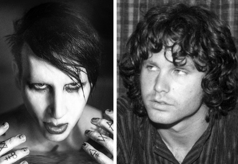 Os músicos Marilyn Manson e Jim Morrison (Foto: Instagram/Getty Images)