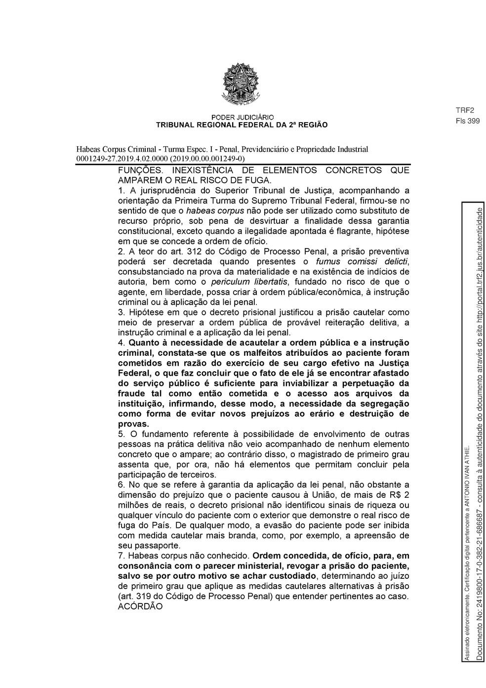 Decisão TRF-2 pg. 18 — Foto: Reprodução