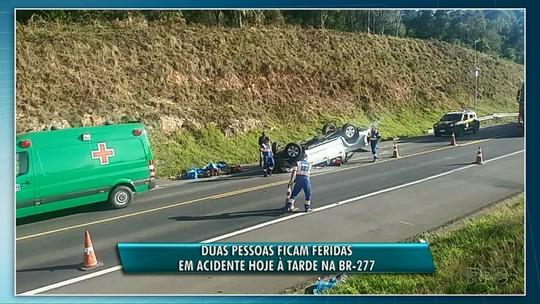 Duas pessoas ficam feridas em acidente na BR-277