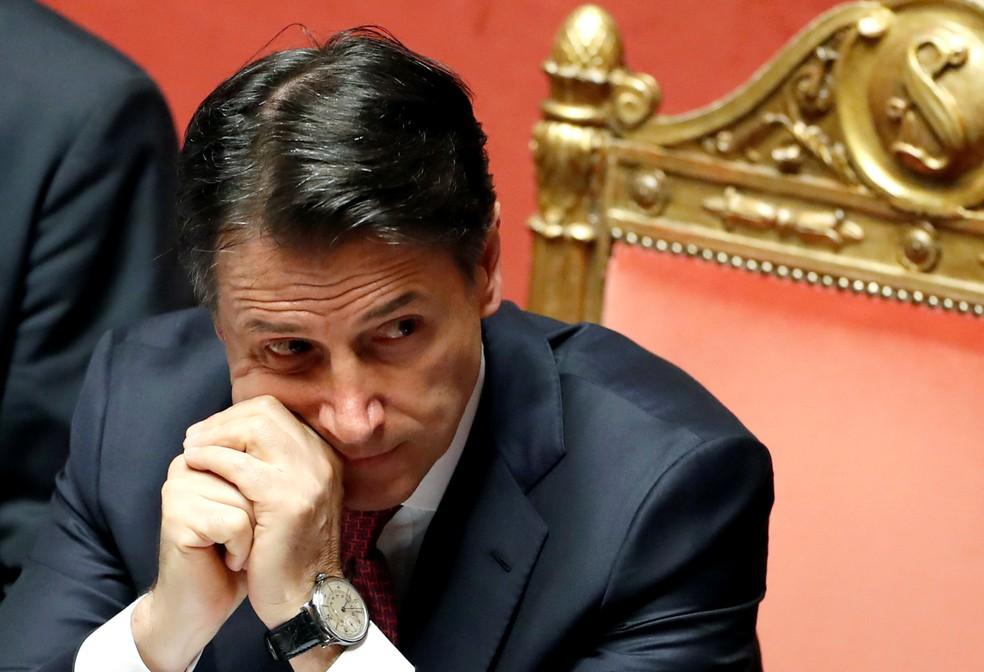 O premiê italiano Giuseppe Conte em sessão no Parlamento nesta terça-feira (20) — Foto: Reuters/Yara Nardi