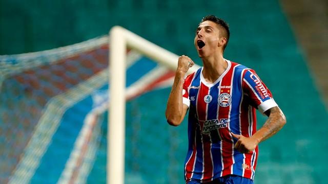Índio Ramírez comemora gol do Bahia diante do Corinthians