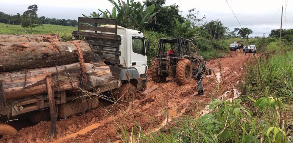 Transporte ilegal de madeiras foi flagrado em linha rural do distrito de Extrema — Foto: Polícia Federal/Divulgação
