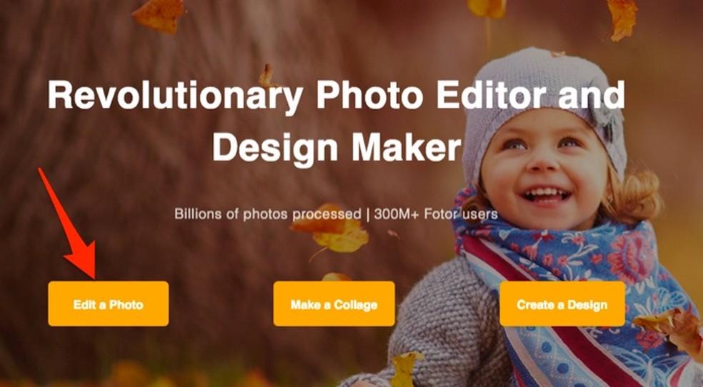37ca21520b ... Ação para acessar a tela de edição do serviço online Fotor — Foto:  Reprodução/