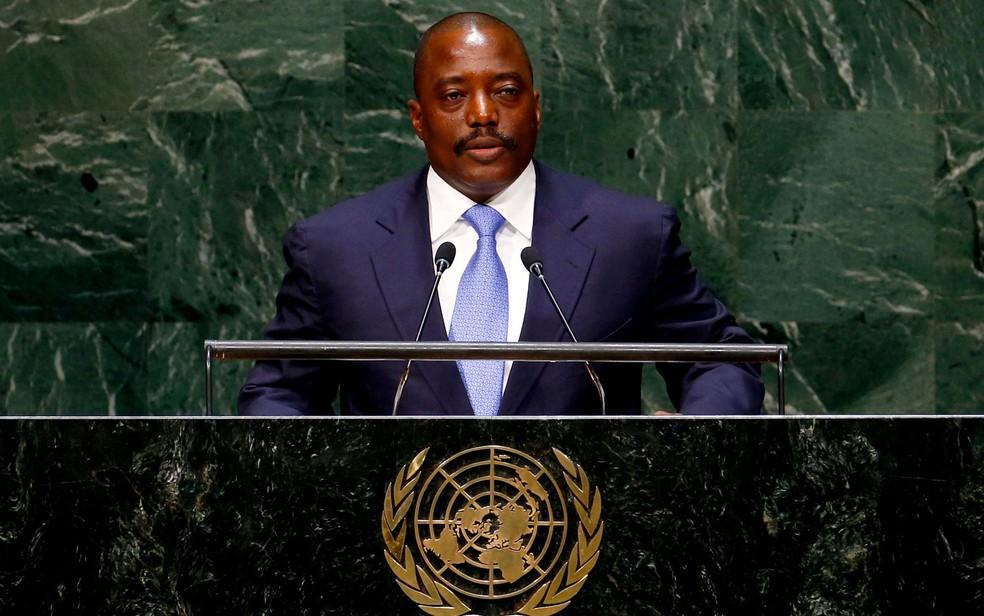 O presidente da República Democrática do Congo, Joseph Kabila, durante discurso na ONU em 25 de setembro de 2014 (Foto: Reuters/Lucas Jackson/File Photo)