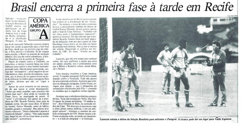 """Lazaroni """"balançou"""" ainda na primeira fase da Copa América 1989 — Foto: Reprodução/Cedoc/A Gazeta"""