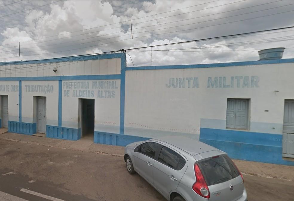 Fachada da Prefeitura de Aldeias Altas (MA) — Foto: Reprodução/Google Maps