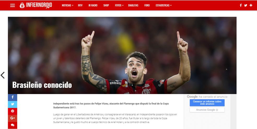 Felipe Vizeu estaria na mira do Independiente (Foto: Reprodução/Internet)