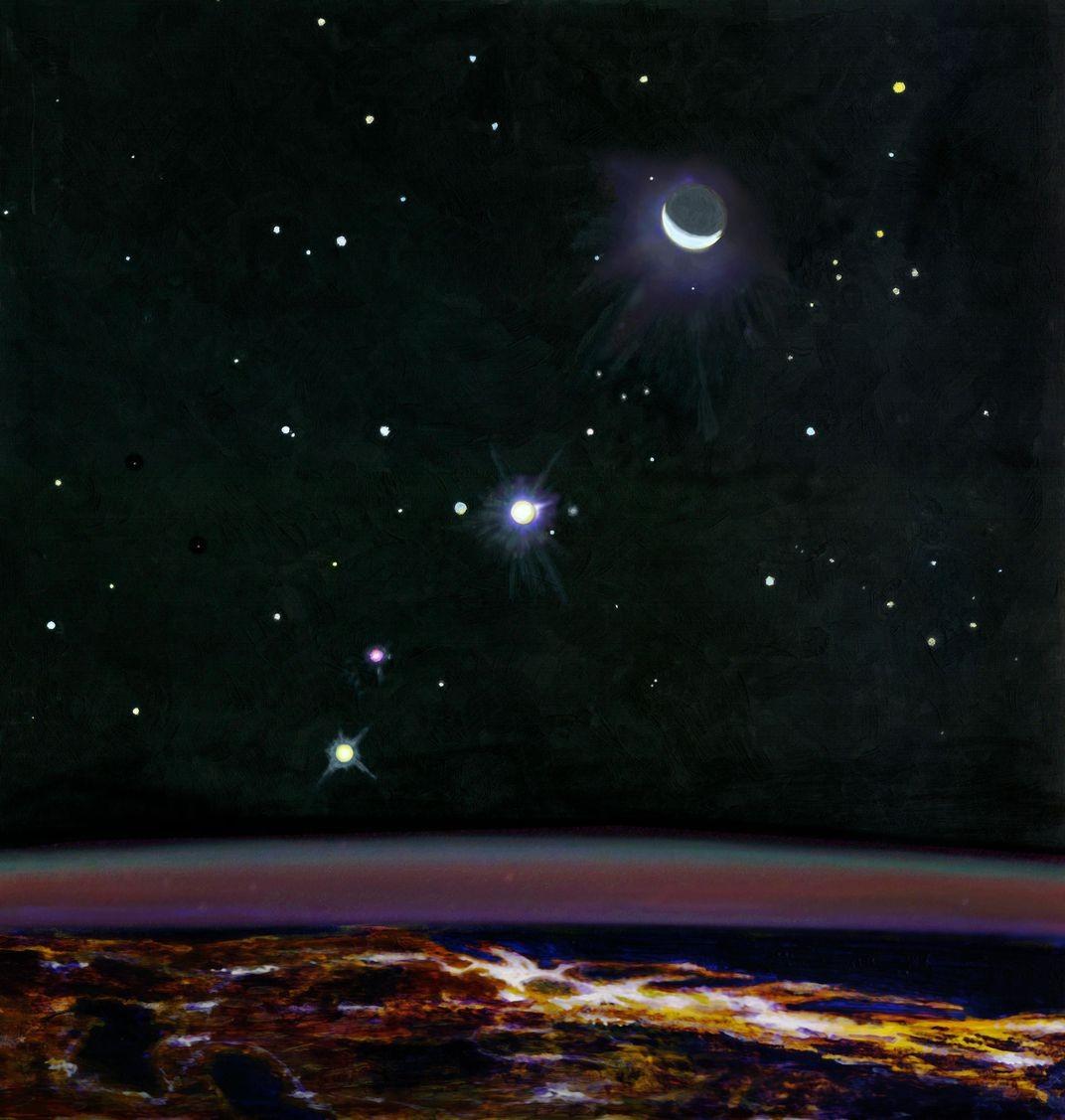 Pintura de Paul Olsen de uma visão imaginária da Terra vista do espaço, ao leste de Nova York à noite, com os principais planetas usados no Geological Orrery. De baixo para cima: Júpiter, Marte (avermelhado), Vênus e a Lua (Foto: Paul Olsen)