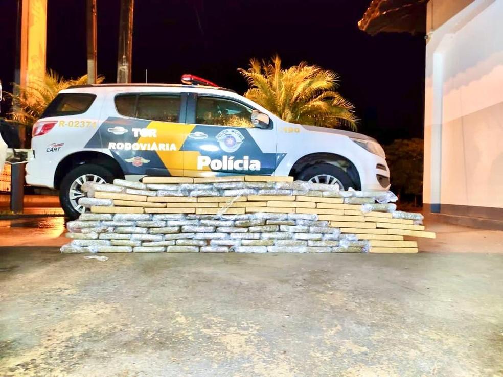 Ao todo foram apreendidos 101 tijolos de maconha em Santa Cruz do Rio Pardo  — Foto: Polícia Rodoviária / Divulgação