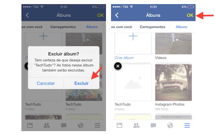 Excluindo um álbum de fotos do Facebook através do aplicativo para iPhone (Foto: Reprodução/Marvin Costa)