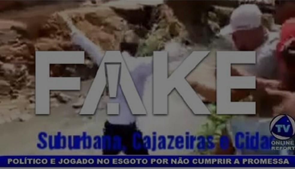 É #FAKE que político foi jogado no esgoto por não cumprir promessas de campanha — Foto:  Reprodução