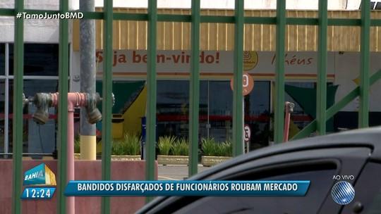 Trio se passa por funcionários, recebe carregamento e rouba mercado na Bahia; vítimas foram trancadas em sala