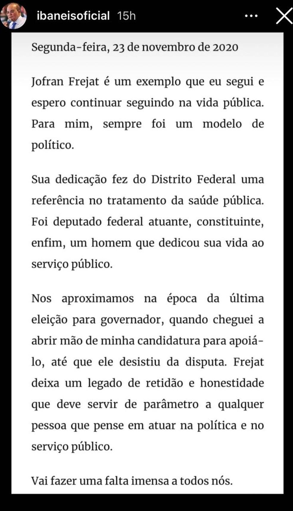 Ibaneis Rocha (MDB) lamenta morte de Jofran Frejat em rede social — Foto: Instagram/Reprodução