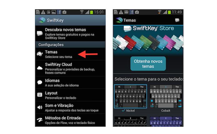 Ativando um novo padrão de cores ao teclado SwiftKey no Android (Foto: Reprodução/Marvin Costa)