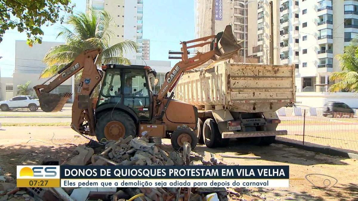 Quiosqueiros de Vila Velha, ES, acionam a Justiça para adiar demolição de unidades - G1