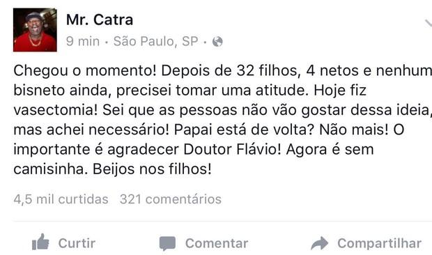 Mr Catra usa redes sociais para anunciar vasectomia (Foto: Reprodução/Facebook)
