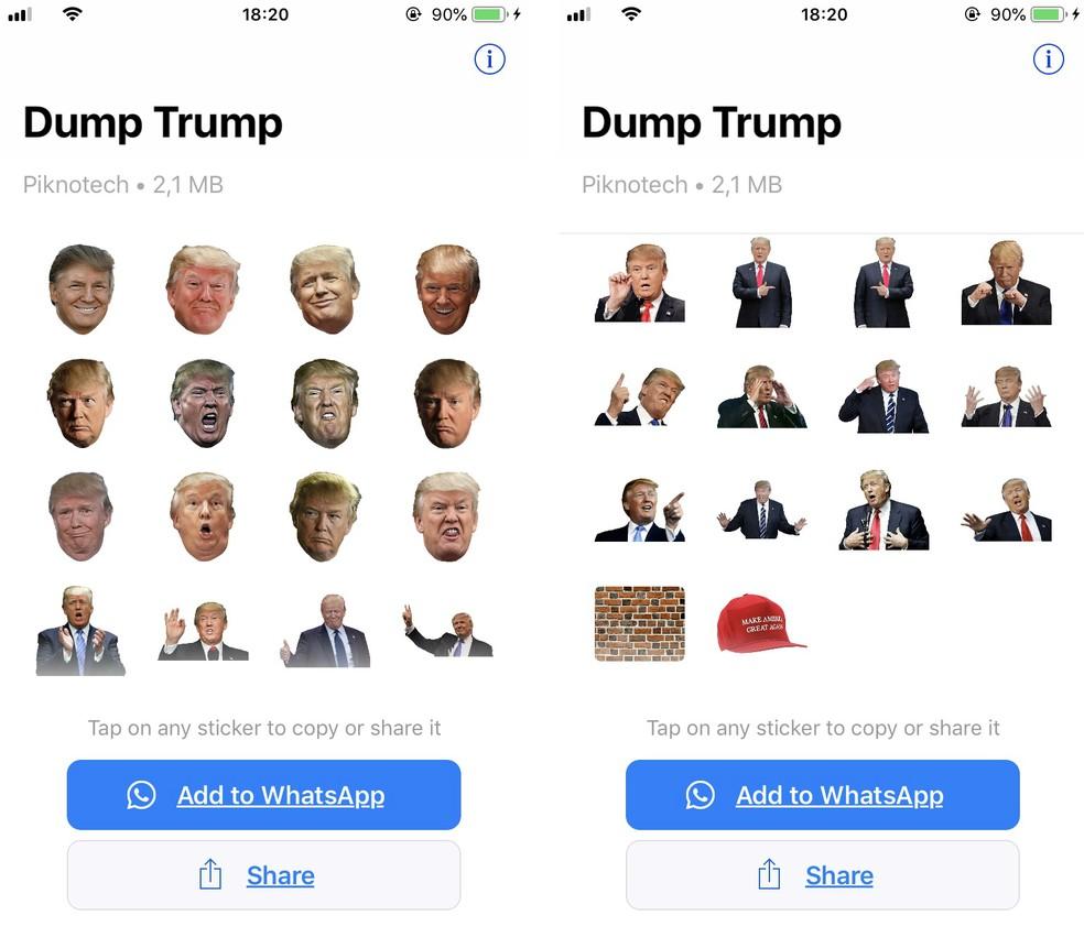 Presidente Donald Trump tem um pacote de figurinhas com suas expressões para usar no WhatsApp — Foto: Reprodução/Rodrigo Fernandes