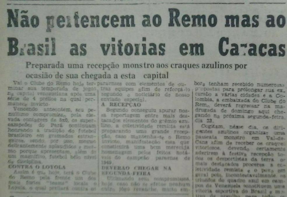 Repercussão do título em jornal da época — Foto: Reprodução